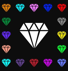 Diamond icon sign lots of colorful symbols for vector