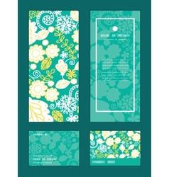 Emerald flowerals vertical frame pattern vector