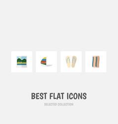 flat icon season set of surfing beach sandals vector image