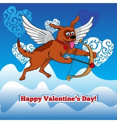 Flying cupid dog with bow and arraw vector image vector image