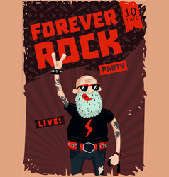 Forever rock old school music funny poster vector