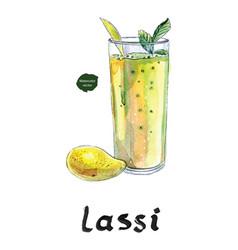 full mango and mango lassi in watercolor vector image