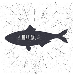 Hand drawn herring icon fish in black and white vector