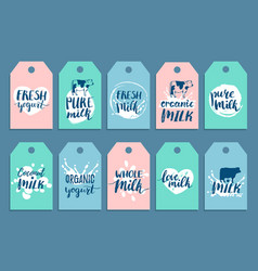 hand drawn milk cards or labels signs set vector image