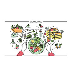 Horizontal banner with organic food composition vector