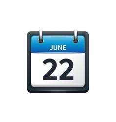 June 22 calendar icon flat vector