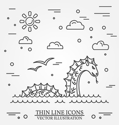 Loch Ness monster logo Thin line icon for web vector image