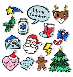 Merry christmas set of badges patches stickers vector