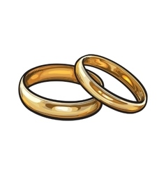 Pair of traditional golden wedding rings for bride vector