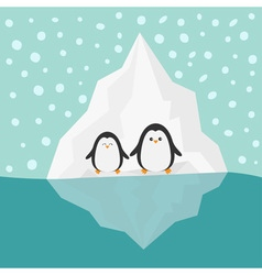 Penguin family iceberg blue water snow in the sky vector