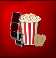 Popcorn film strip and tickets vector