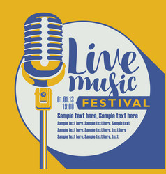 poster for festival live music with a microphone vector image vector image