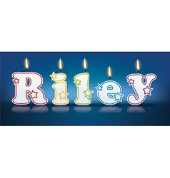 Riley written with burning candles vector