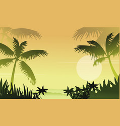 Scenery jungle with palm silhouettes vector