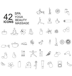 Set of spa beauty icons in linear style vector image vector image