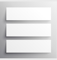 set of three black headers mockup design vector image