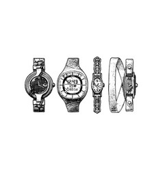 Set of womens watches vector