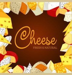 sign or banner with sliced porous cheese vector image vector image