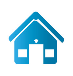 Silhouette front view house with two windows icon vector
