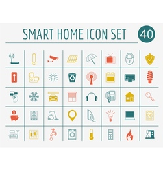 Smart house concept icon set flat style design vector