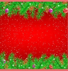 spruce branch red christmas background vector image