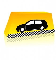 taxi on the way vector image vector image