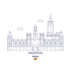 Valencia city skyline spain vector