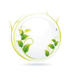white glass ball with wet leaves vector image vector image