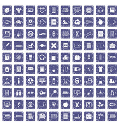 100 learning kids icons set grunge sapphire vector image vector image