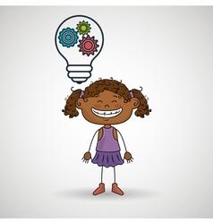 Girl idea gears icon vector