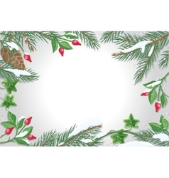 Frame with pine tree sweetbrier brunches vector