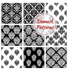 Old damask or damasque seamless pattern background vector image