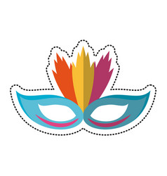 Cartoon carnival mask with feathers vector