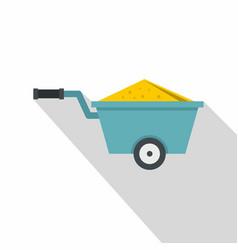 wheelbarrow full of sand icon flat style vector image