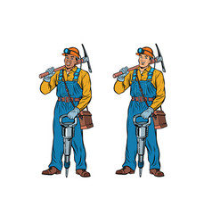 African and caucasian miners with jackhammer vector