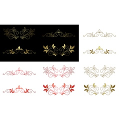 Floral golden and red design elements vector