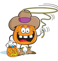 Cartoon pumpkin in cowboy costume vector