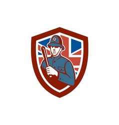 British bobby policeman truncheon flag shield vector
