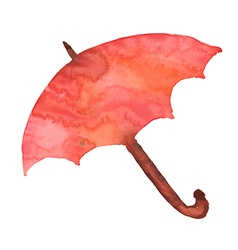 Watercolor red umbrella shelter from the rain vector