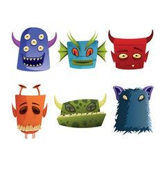 Six monster heads vector