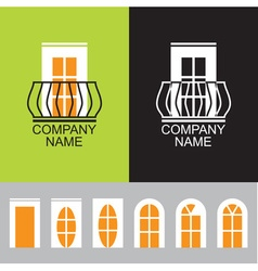 Balcony icon with a set of different windows vector