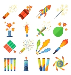 Pyrotechnics and fireworks set vector