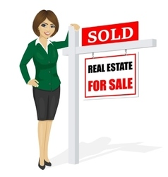 Real estate agent standing next to sale sign vector