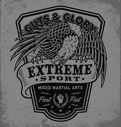 Extreme sport eagle crest shield t-shirt graphic vector