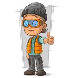 Cartoon boy in orange jerkin vector