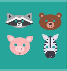 animals carnival mask set festival vector image vector image
