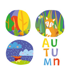 Autumn postcard kids vector
