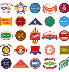 Big set of flat colored vintage labels vector image vector image