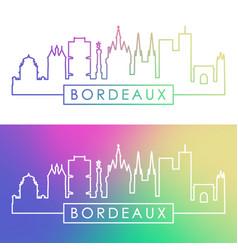 Bordeaux skyline colorful linear style editable vector