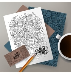 Cartoon hand drawn doodles travel corporate vector